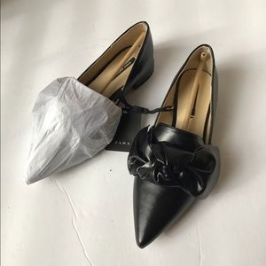 Zara black flats with bow